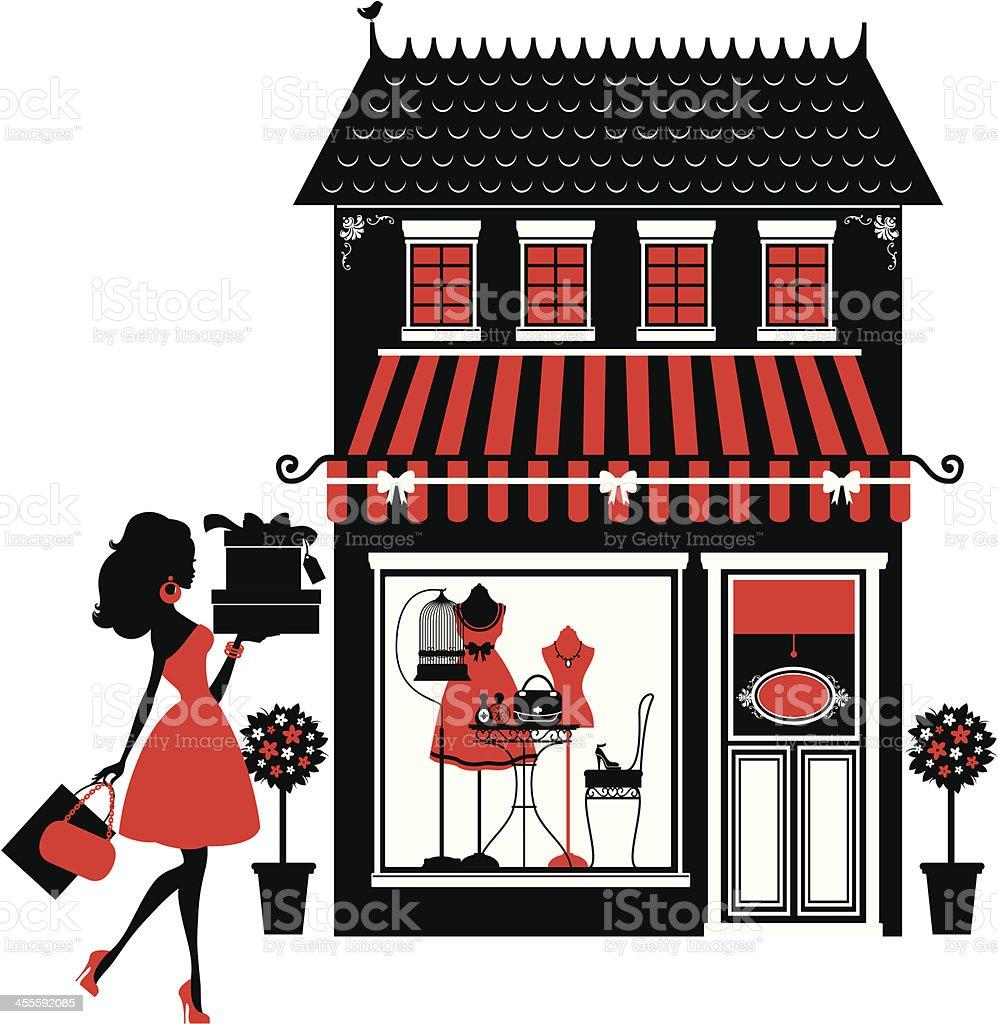 Fashion Boutique and Shopper vector art illustration