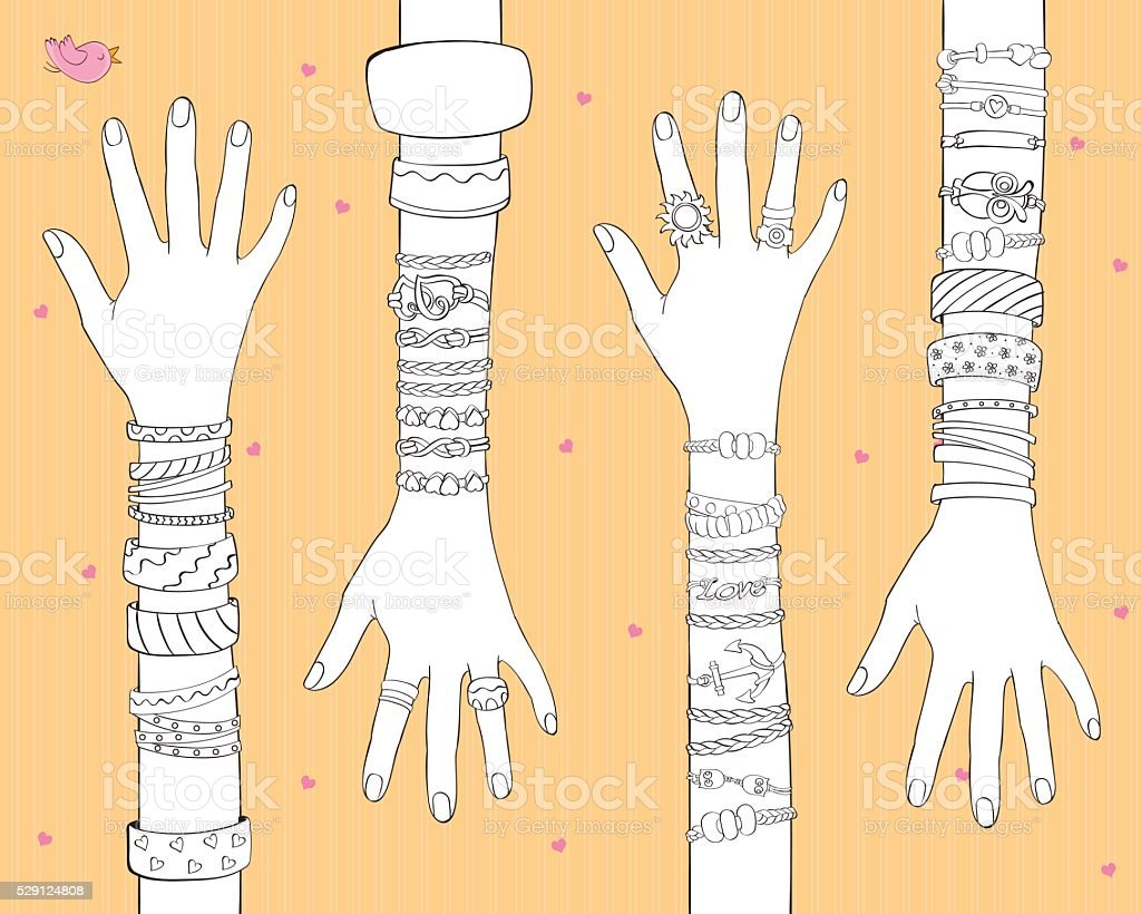 Fashion Bracelets And Rings vector art illustration