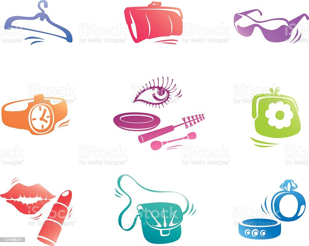 Fashion аccessories icons set. royalty-free stock vector art