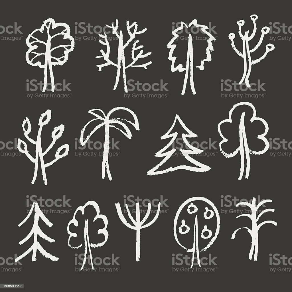 Fashion chalk sketches of trees. vector art illustration