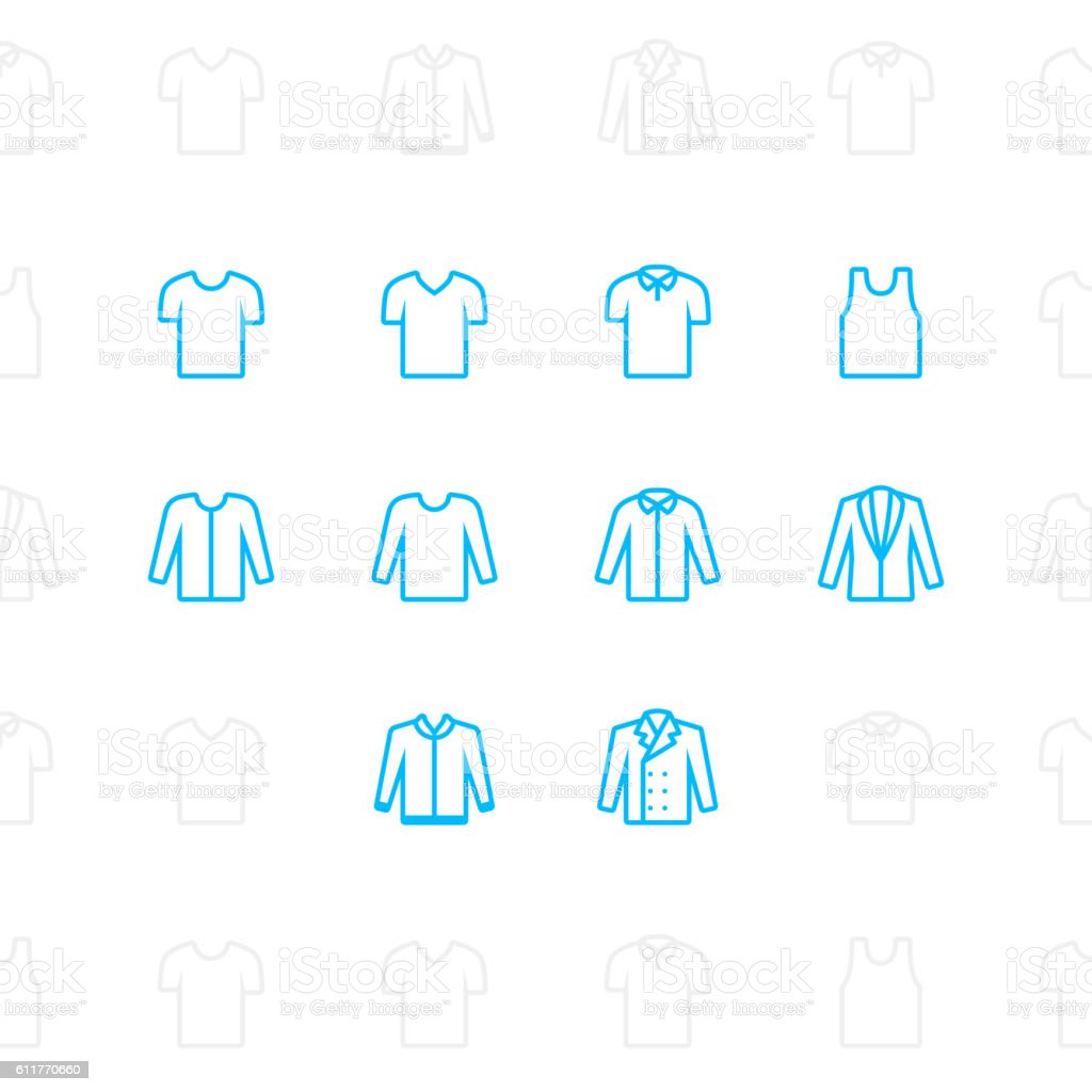 Fashion clothes Icons, 2 pixel stroke vector art illustration