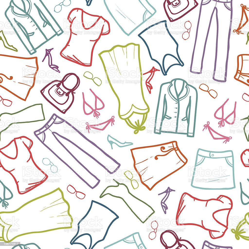 Fashion Clothes Seamless Pattern royalty-free stock vector art