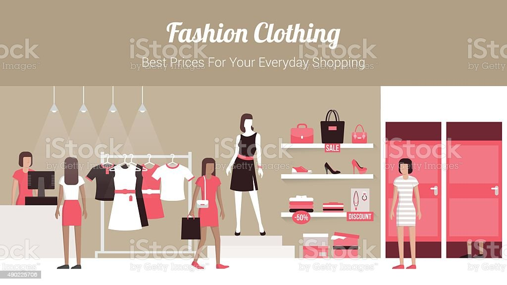 Fashion clothing store vector art illustration