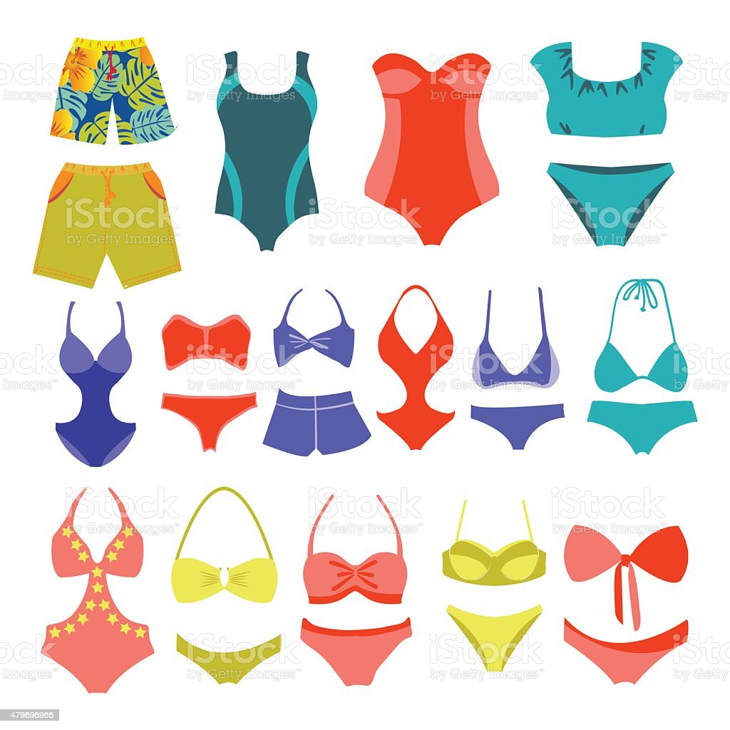 fashion Collection Swimming suits vector art illustration