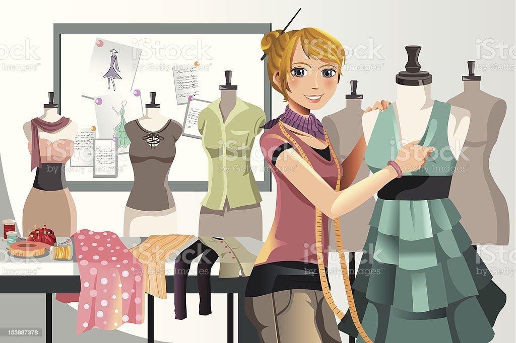 Fashion designer at work vector art illustration