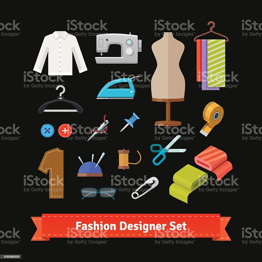 Fashion designer tools and materials vector art illustration