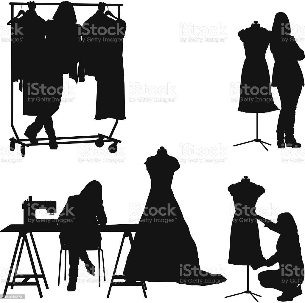 Fashion designer working in her workshop vector art illustration