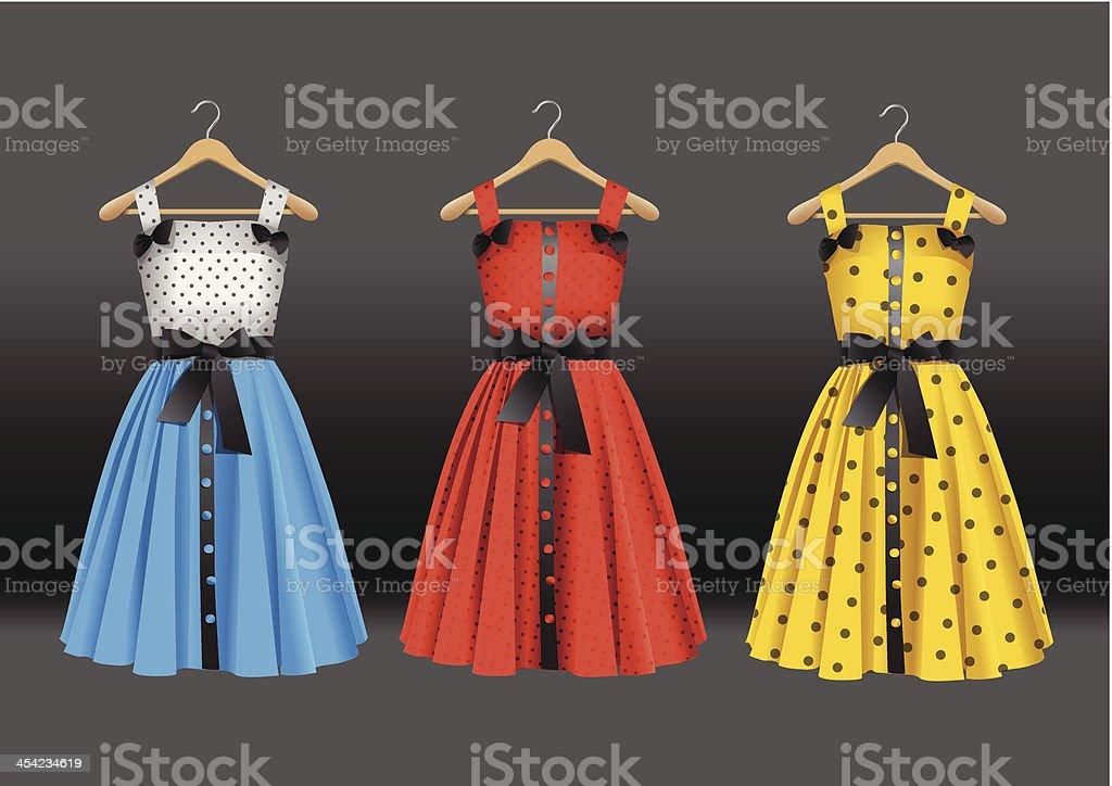 Fashion dresses on hanger royalty-free stock vector art