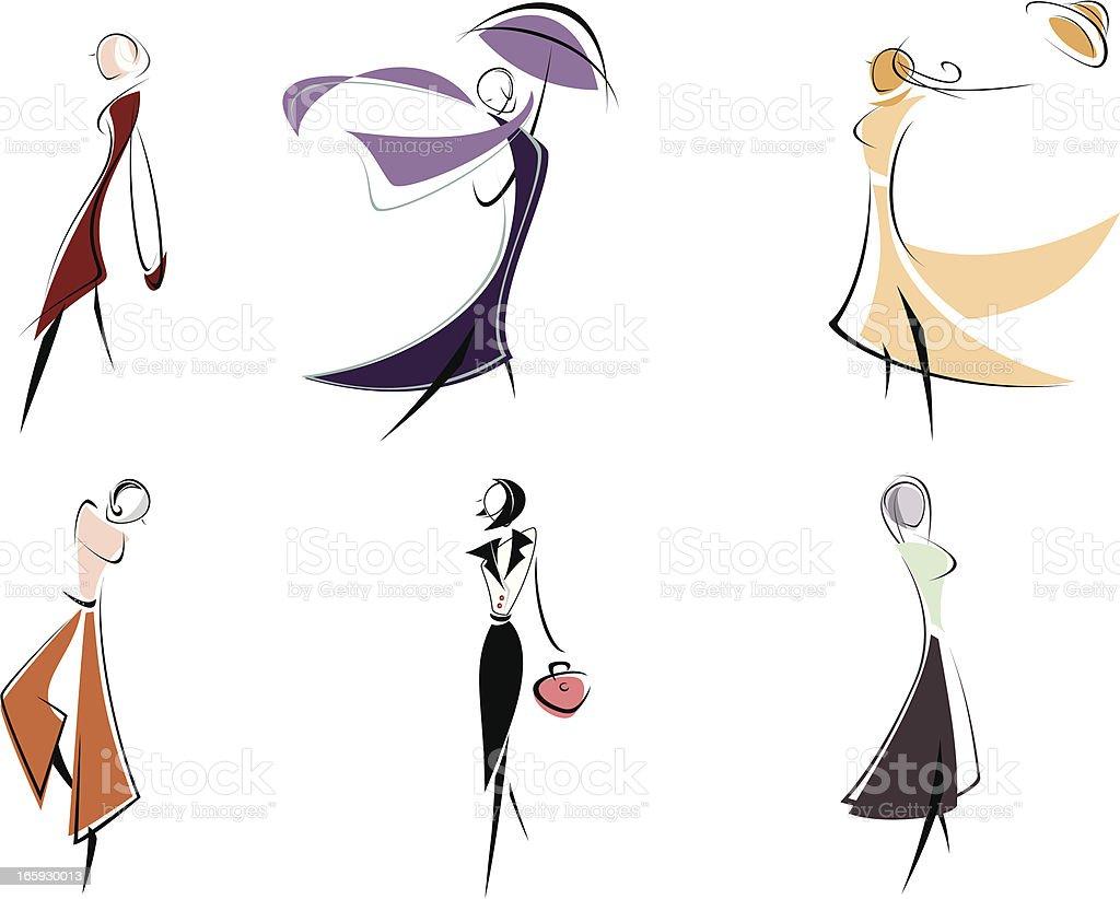 fashion figurines vector art illustration