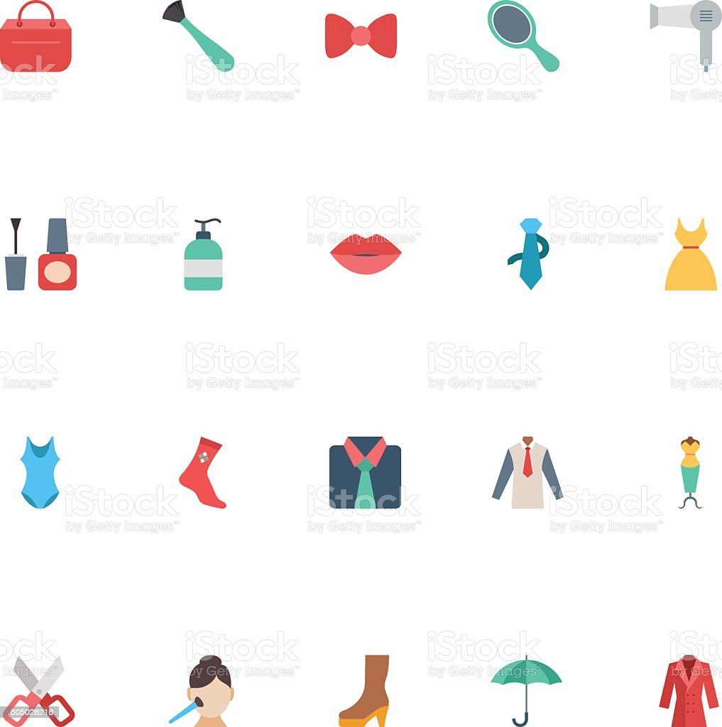 Fashion Flat Vector Icons 2 vector art illustration
