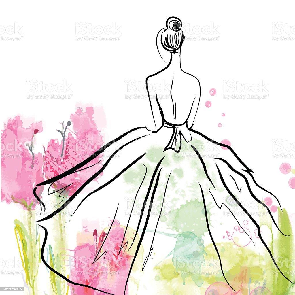 Fashion girl in beautiful dress - sketch vector art illustration