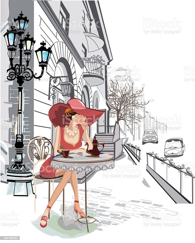 Fashion girl in the street cafe. vector art illustration