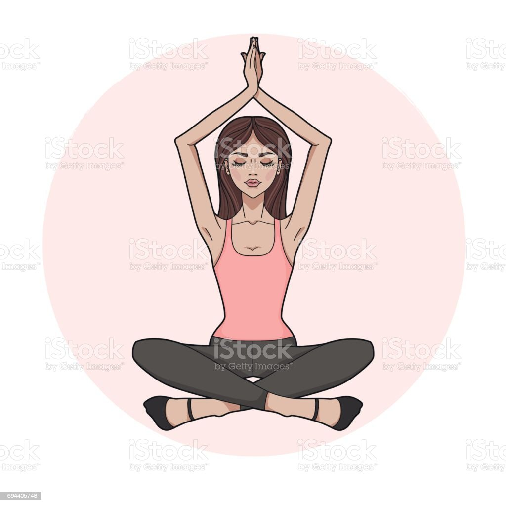 Fashion girl practicing Yoga. Lotus meditative pose. Young beautiful woman sitting in yoga position. Template for design cards, yoga studio, poster and natural cosmetics. vector art illustration