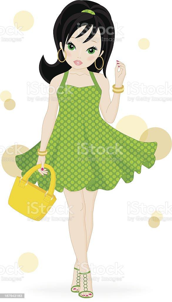 fashion girl vector art illustration