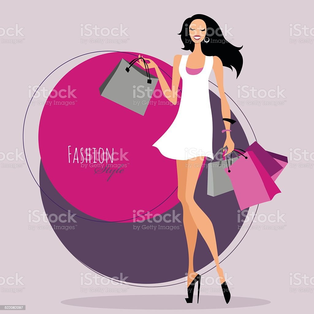 Fashion girl. Woman with shopping bags. vector art illustration
