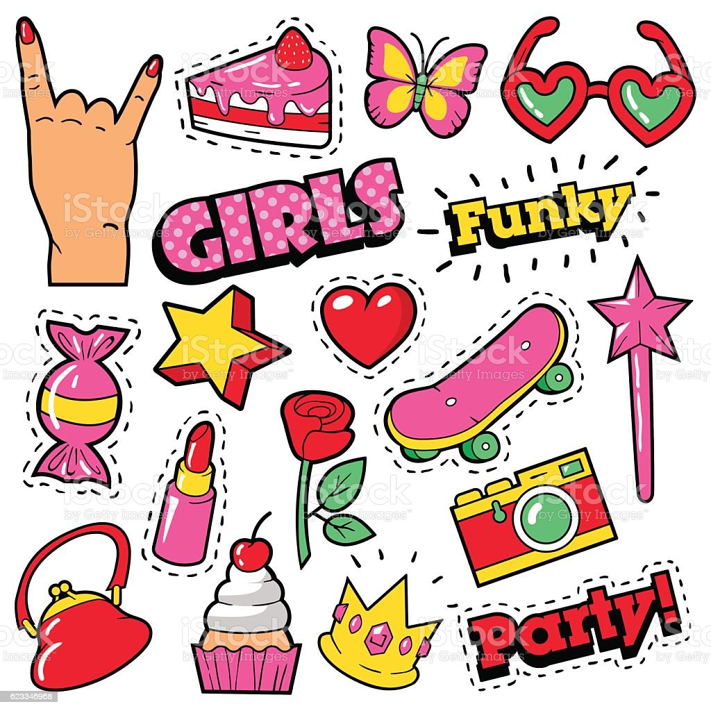 Fashion Girls Badges, Patches, Stickers - Cake, Hand, Heart, Crown vector art illustration