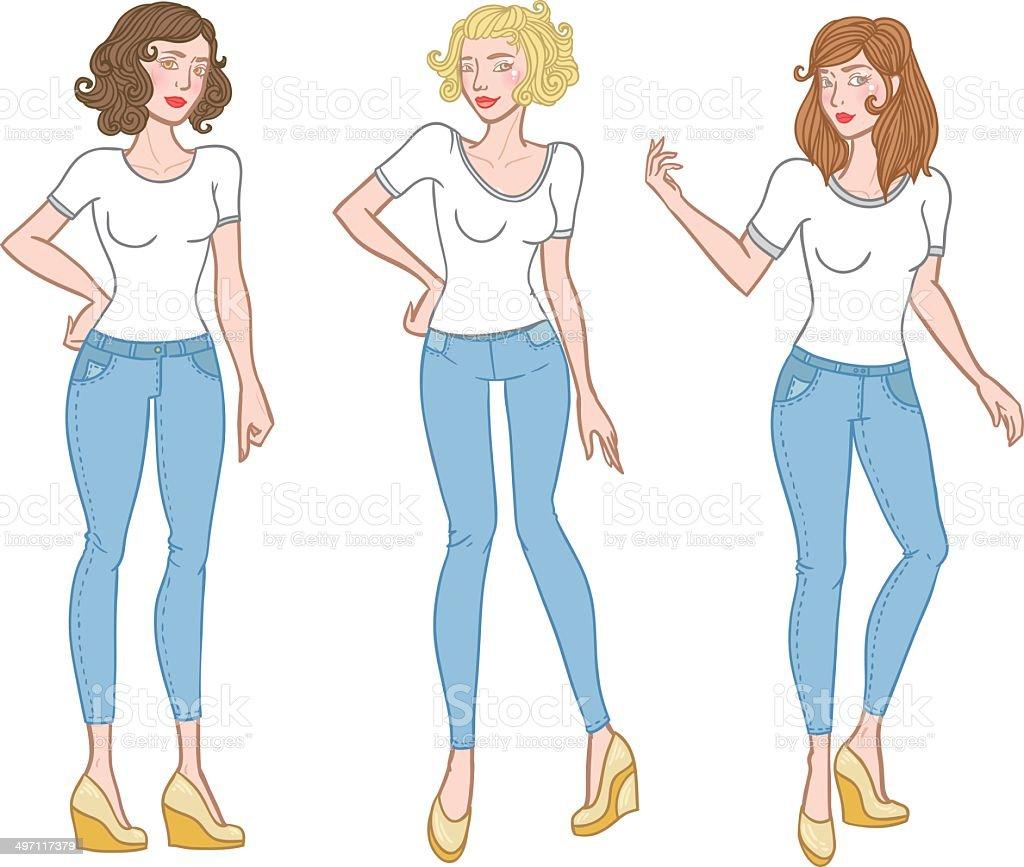 Fashion girls in t-shirts vector art illustration