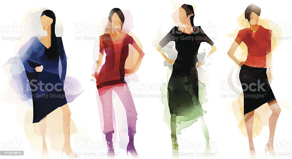 Fashion Group vector art illustration