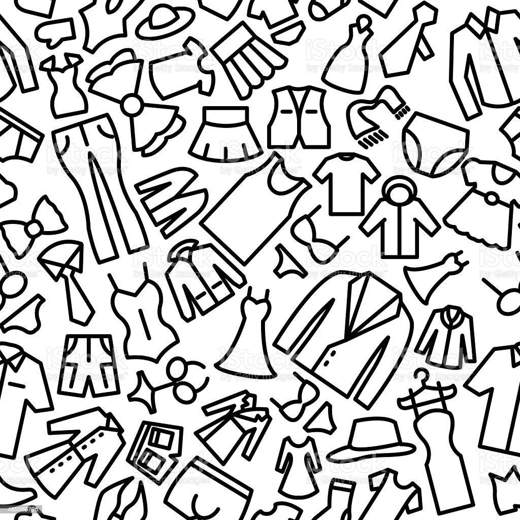 Fashion Hand Drawn Sketchy Outline Seamless Icon Pattern vector art illustration