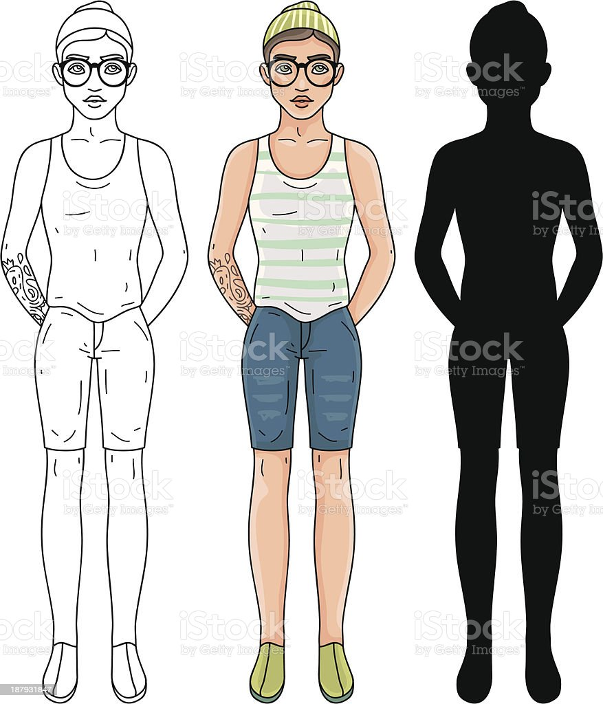 Fashion hipster man royalty-free stock vector art