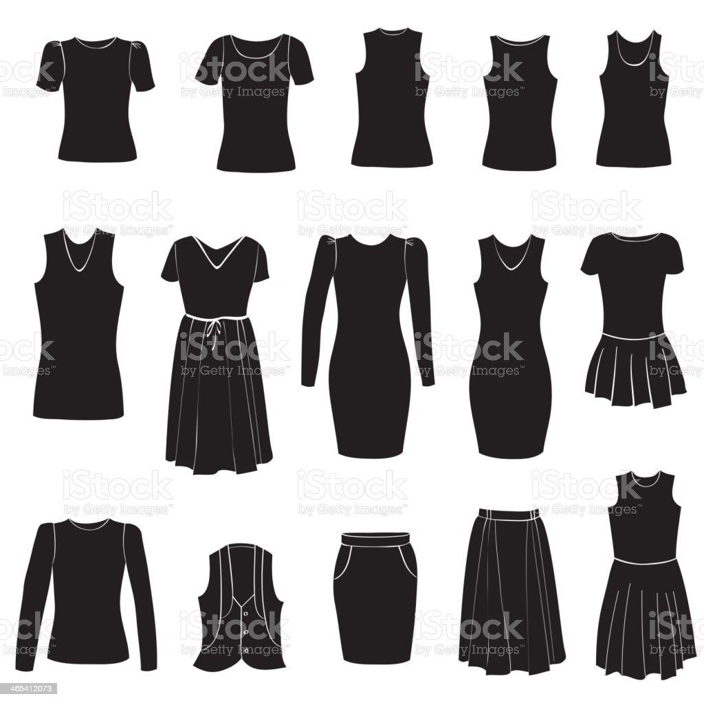 Fashion icons set. Female cloth collection. vector art illustration