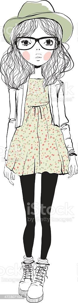 fashion illustration girl royalty-free stock vector art