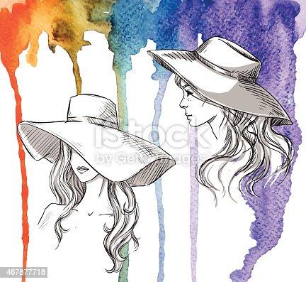 Девушка в шляпе рисунок акварелью