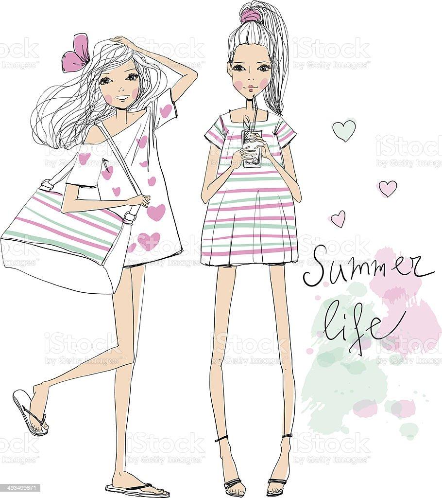fashion illustration girls royalty-free stock vector art