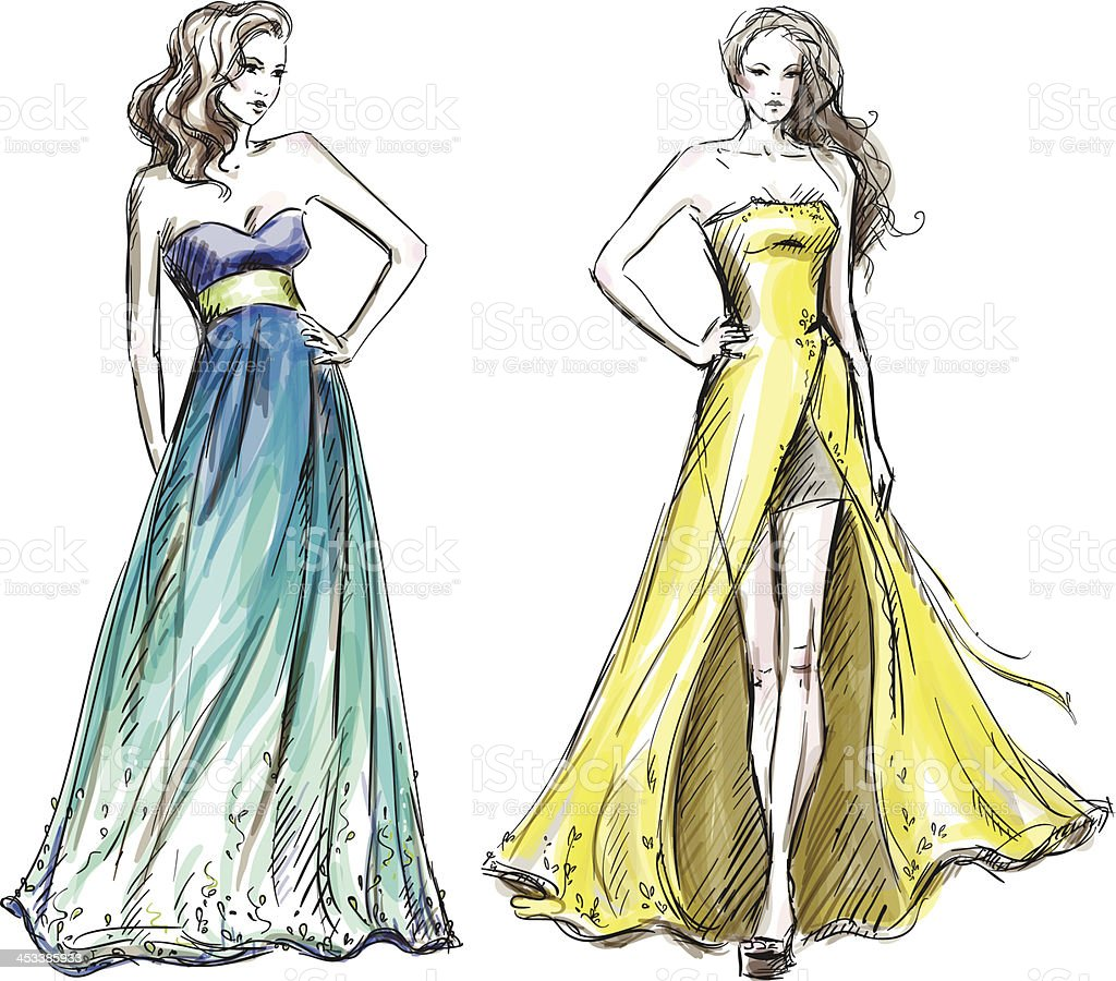 Fashion illustration. Long dress. Catwalk. vector art illustration