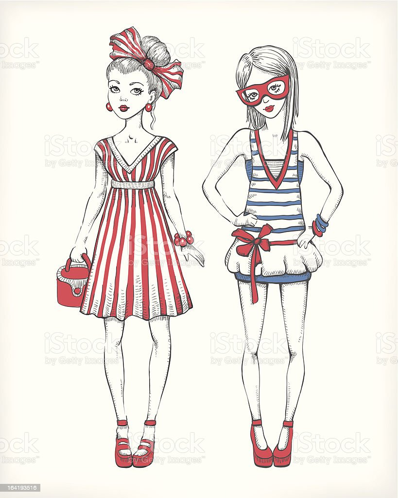 Fashion illustration. Vector line art vector art illustration