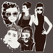 fashion  ladies look in little black dress in 50s style