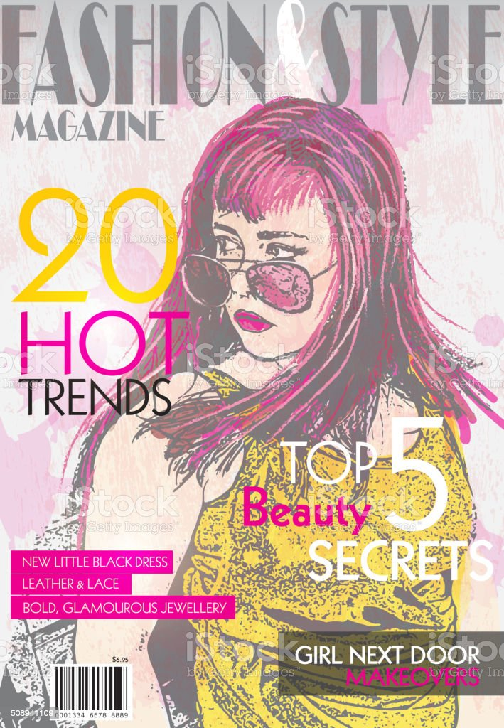 Fashion magazine cover design template vector art illustration