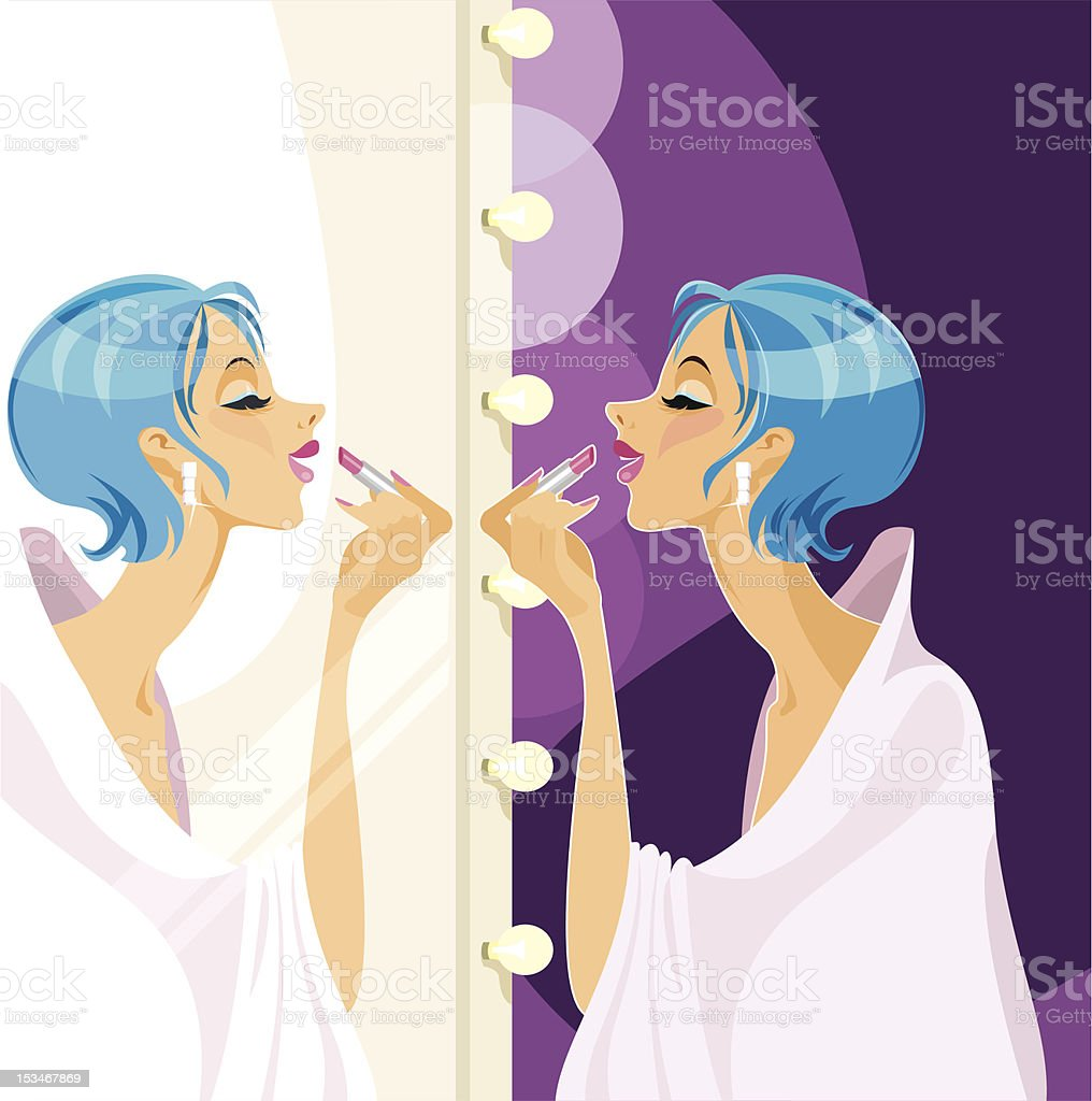 Fashion Make-up in front of a mirror royalty-free stock vector art