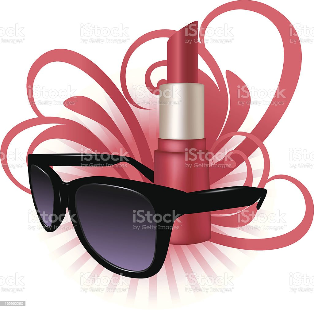 Fashion Makeup With Sunglasses royalty-free stock vector art