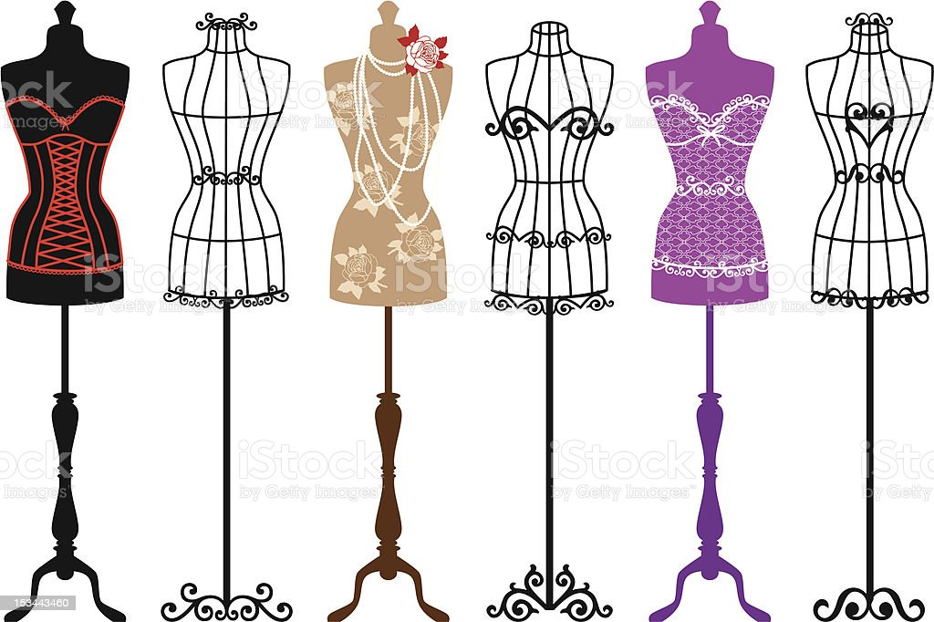 fashion mannequins, vector set royalty-free stock vector art