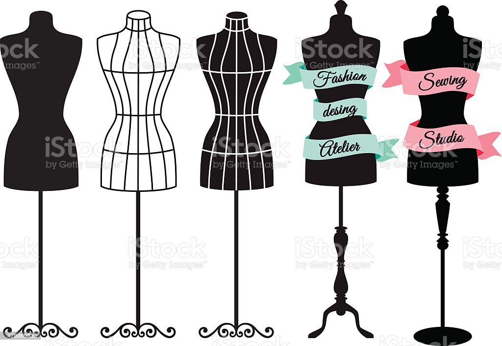 Fashion mannequins, vector set vector art illustration