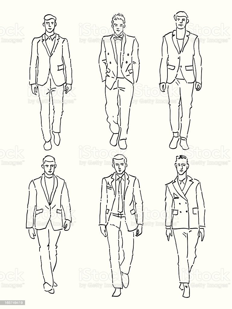 fashion men vector art illustration