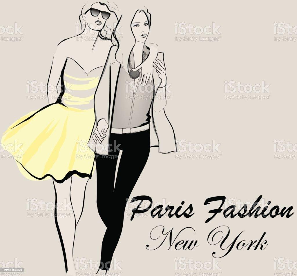 Fashion model defile vector art illustration