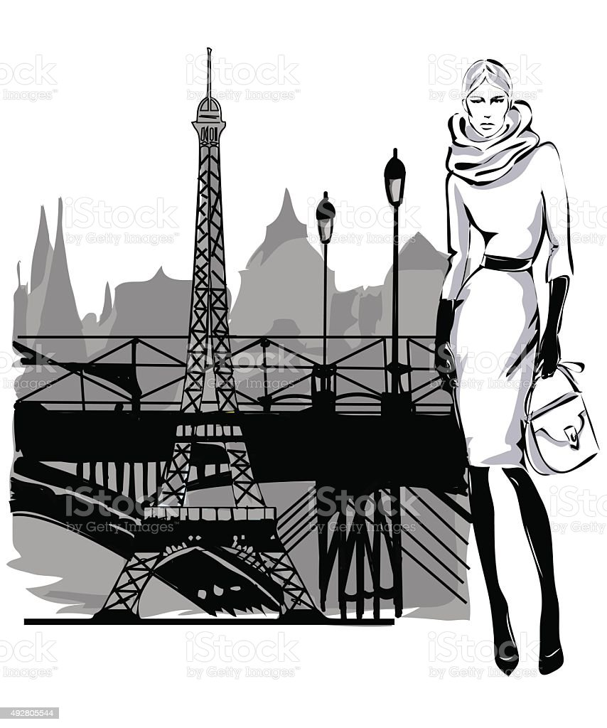 Fashion model fall winter with Paris city near Eiffel tower vector art illustration