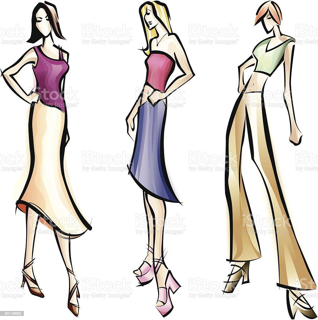 Fashion Model Renderings vector art illustration