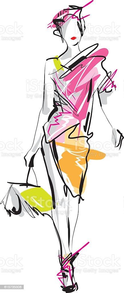 Fashion model vector art illustration