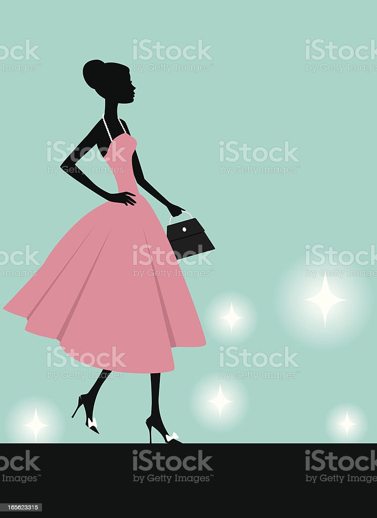 A fashion model walking down the runway  vector art illustration