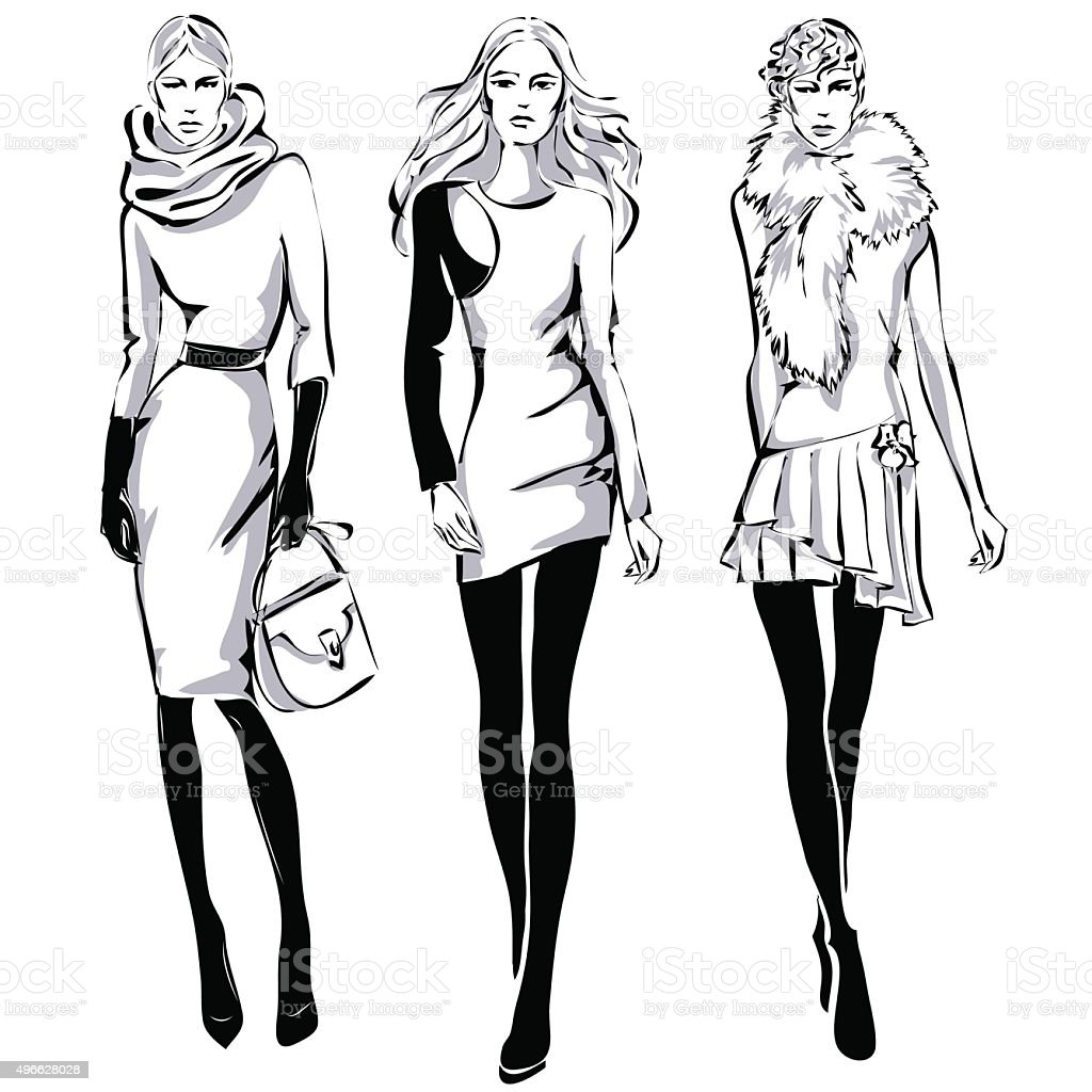 Fashion Models In Sketch Style Fall Winter stock vector art 496628028 ...