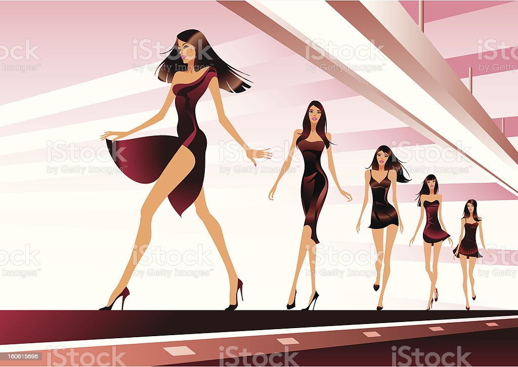 Fashion models on review royalty-free stock vector art