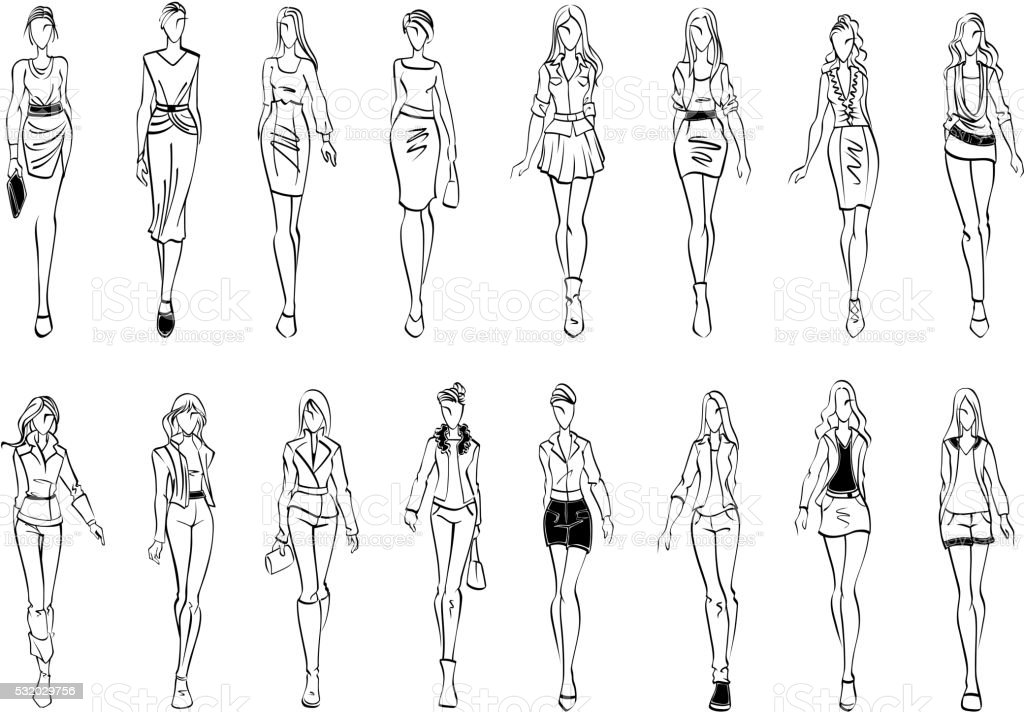 Fashion models shows everyday outfits sketch icons vector art illustration