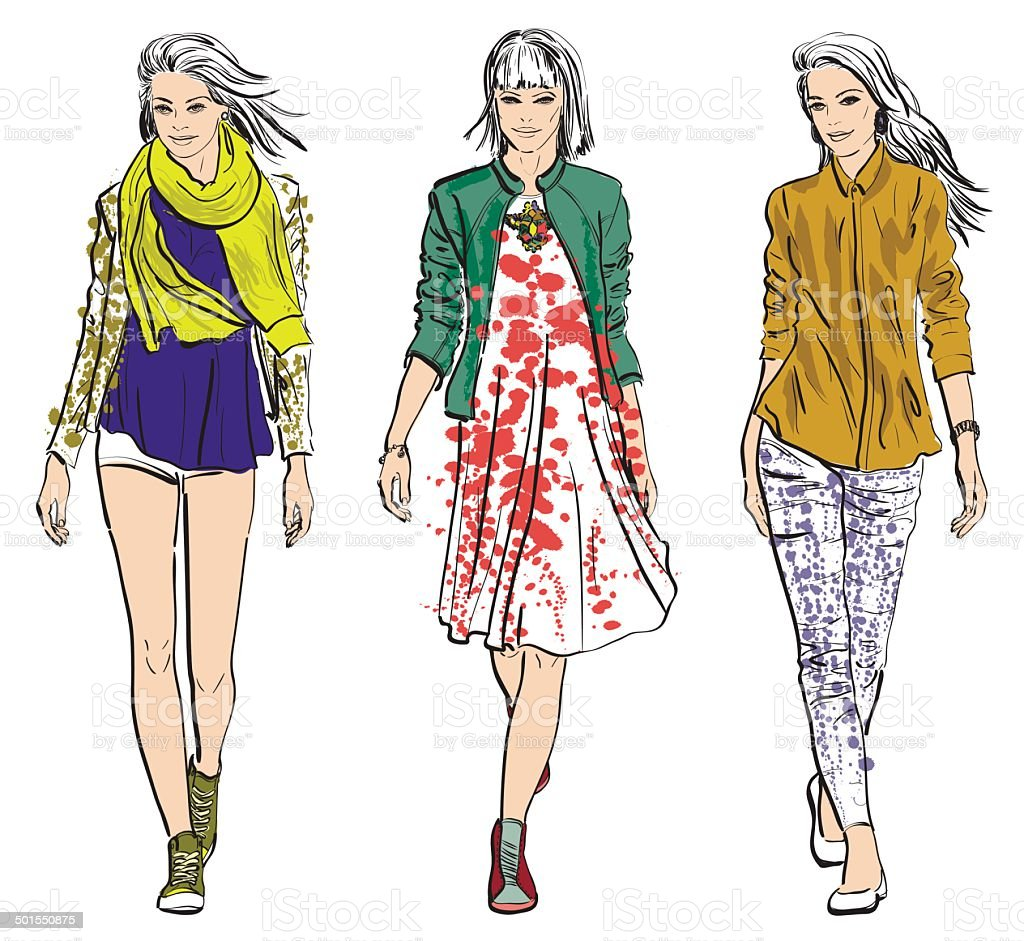 Fashion models vector art illustration
