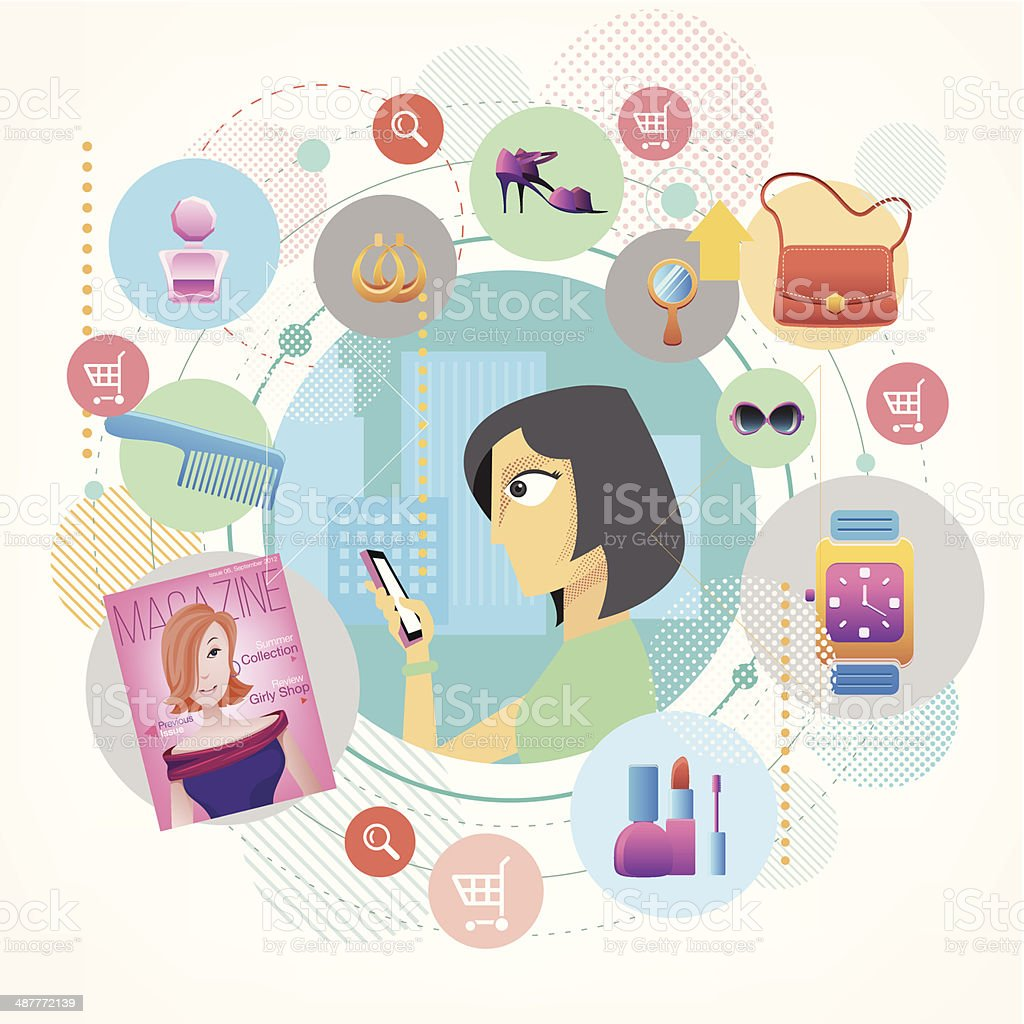 Fashion on smartphone royalty-free stock vector art