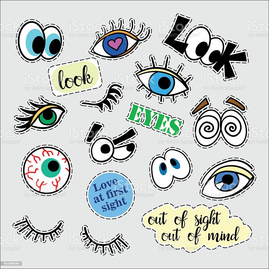 Fashion patch badges. Eyes set. Stickers, pins, patches and handwritten vector art illustration