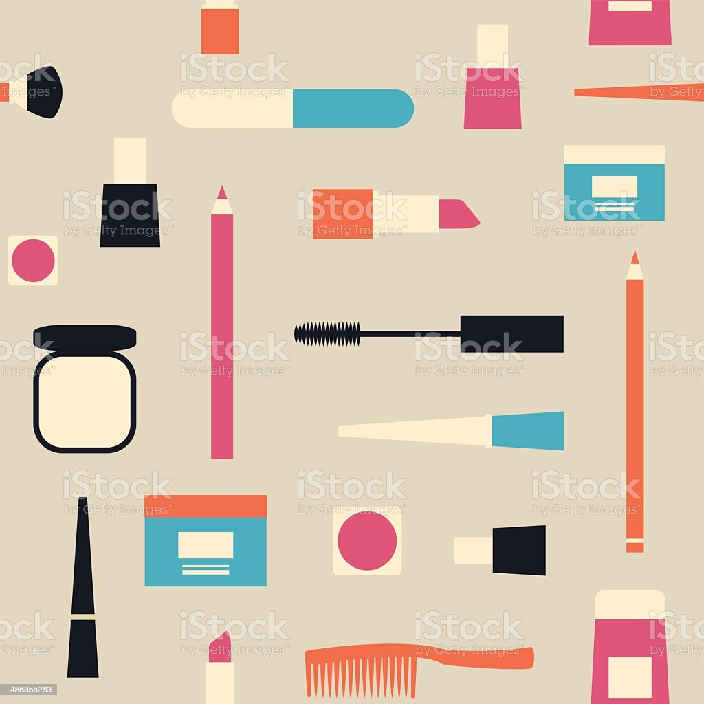 Fashion pattern with different cosmetic objects on light grey background. vector art illustration