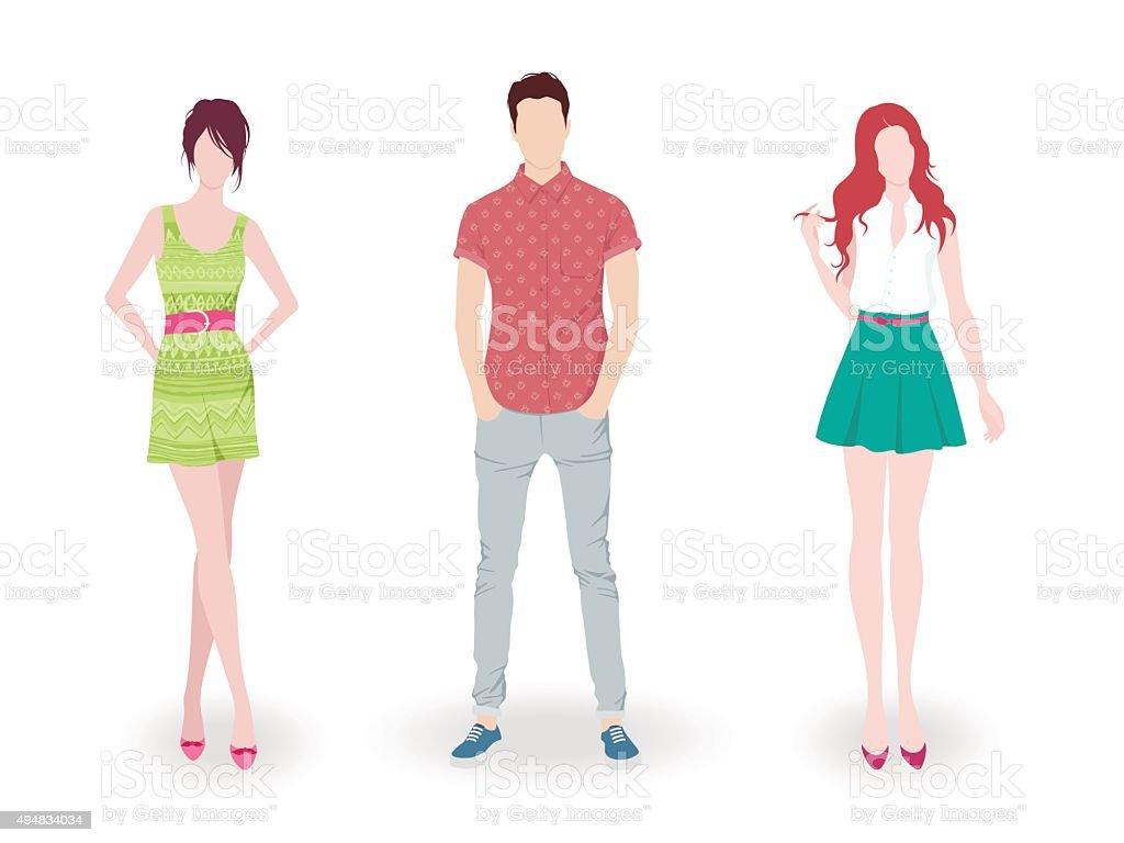 Fashion people vector art illustration